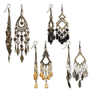 earring, acrylic / antique brass / antique brass-plated steel, assorted colors, 3 to 4-1/2 inches with fishhook earwire. sold per pkg of 4 pairs.