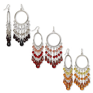 earring, acrylic with imitation rhodium-plated steel and brass, assorted colors, 3-3/4 inches with fishhook earwire. sold per pkg of 3 pairs.