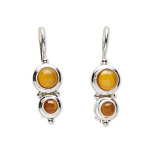 earring, amber (reconstituted) and sterling silver, 29mm with fishhook earwire and safety. sold per pair.