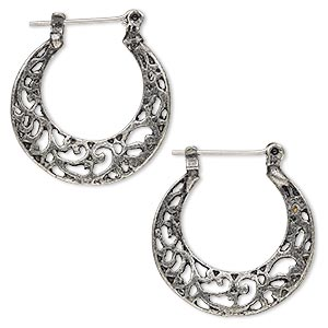 earring, antique silver-finished pewter (zinc-based alloy), 1-inch swirl hoop with latch-back closure. sold per pair.