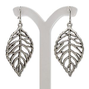 earring, antique silver-finished steel and pewter (zinc-based alloy), 2 inches with wavy cutout leaf and fishhook earwire. sold per pair.
