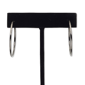 earring, black-finished brass, 35mm round hoop with pierced-look spring closure. sold per pair.