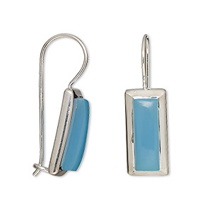 earring, blue chalcedony (dyed) and sterling silver, 27x9mm with 15x5mm rectangle and fishhook earwire with safety. sold per pair.