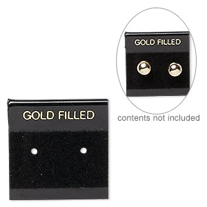 earring card, flocked plastic, black and gold, 1x1-inch square with gold filled. sold per pkg of 25.