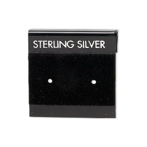 earring card, flocked plastic, black and silver, 1x1-inch square with sterling silver. sold per pkg of 100.