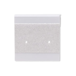 earring card. flocked plastic, grey, 1x1-inch square. sold per pkg of 25.