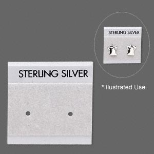 earring card, flocked plastic, grey, 1x1-inch square with sterling silver. sold per pkg of 100.