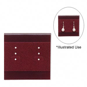 earring card, plastic and velour, burgundy, 2x2 inch square. sold per pkg of 100.