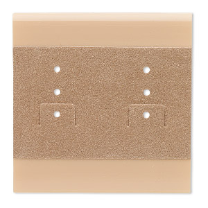 earring card, plastic and velour, camel, 2x2-inch square. sold per pkg of 25.