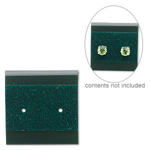 earring card, plastic and velour, green, 1x1-inch square. sold per pkg of 25.