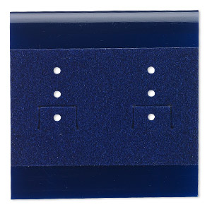 earring card, plastic and velour, royal blue, 2x2-inch square. sold per pkg of 100.
