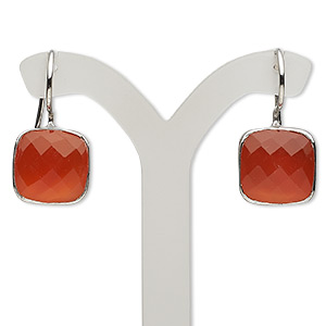 earring, carnelian (dyed / heated) and sterling silver, 26mm with 12x12mm faceted cushion and fishhook earwire. sold per pair.