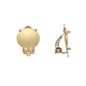 earring, clip-on, gold-plated brass and steel, 13mm round flat pad with 12mm 4-prong round setting and closed loop. sold per pkg of 5 pairs.