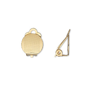 earring, clip-on, gold-plated steel, 11mm hinged with 11mm round flat pad. sold per pkg of 5 pairs.