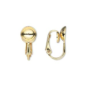 earring, clip-on, gold-plated steel, 17mm hinged with 8mm grooved cup, fits 8mm bead. sold per pkg of 50 pairs.