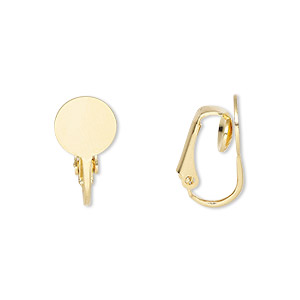 earring, clip-on, gold-plated steel, 19mm hinged with 9mm round flat pad. sold per pkg of 50 pairs.