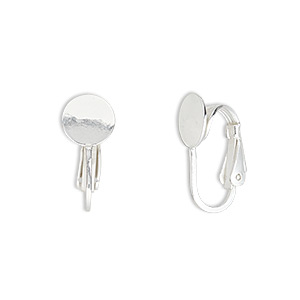 earring, clip-on, sterling silver-filled, 18mm with 8mm round pad. sold per pair.
