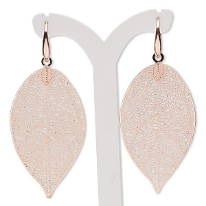 earring, copper-plated brass, 2-1/2 inches with textured leaf and fishhook earwire. sold per pair.