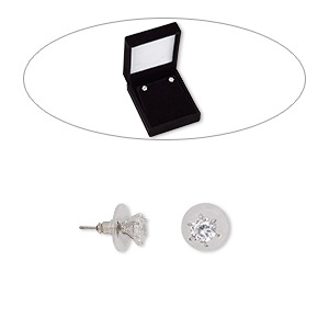 earring, cubic zirconia / stainless steel / rhodium-finished brass, clear, 7mm round with post. sold per pair.