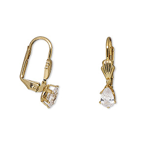 earring, cubic zirconia and gold-finished brass, clear, 3/4 inches with teardrop and leverback earwire. sold per pair.