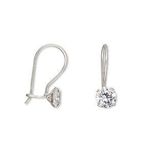 earring, cubic zirconia and sterling silver, clear, 18x6mm with 6mm round and fishhook earwire. sold per pair.