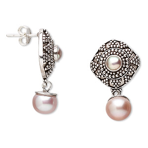 earring, cultured freshwater pearl and sterling silver, mauve, 28mm with 17mm diagonal square and post. sold per pair.