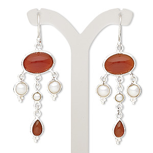 earring, cultured freshwater pearl (bleached) / carnelian (dyed / heated) / sterling silver, white, 2-1/2 inches with fishhook earwire. sold per pair.