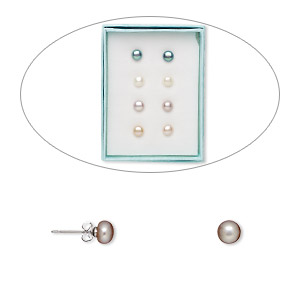 earring, cultured freshwater pearl (bleached / dyed) and stainless steel, assorted colors, 6.5-7mm button with post. sold per pkg of 4 pairs.