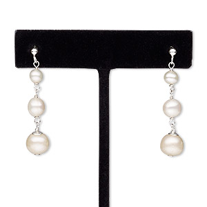 earring, cultured freshwater pearl (bleached) sterling silver, white, 38mm with graduated round and post. sold per pair.