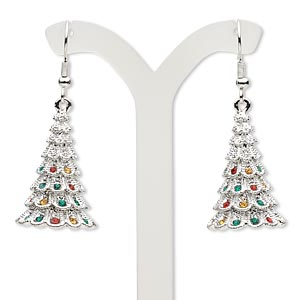 earring, czech glass rhinestone and imitation rhodium-plated pewter (zinc-based alloy), red / green / yellow, 1-7/8 inches with christmas tree and fishhook earwire. sold per pair.