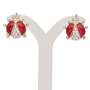 earring, enamel / glass rhinestone / plastic / stainless steel / gold-finished pewter (zinc-based alloy), red / black / clear, 14x14mm ladybug with post. sold per pair.
