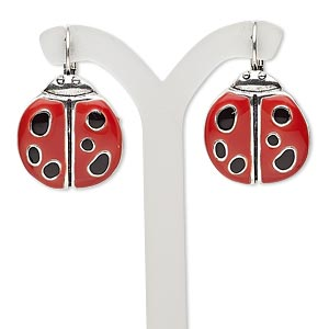 earring, enamel and antique silver-plated brass, red and black, 32mm with ladybug and leverback earwire. sold per pair.