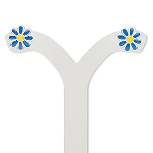 earring, enamel and sterling silver, blue and yellow, 8x8mm daisy with post. sold per pair.