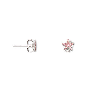 earring, enamel and sterling silver, pink, 6x6mm starfish with post. sold per pair.