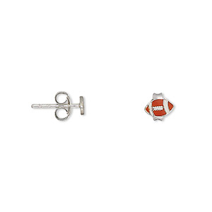earring, enamel and sterling silver, white and orange, 6x4mm american football with post. sold per pair.