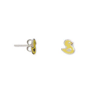 earring, enamel and sterling silver, yellow and orange, 8x7mm duck with post. sold per pair.