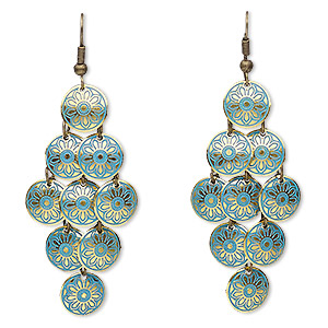 earring, enamel with antique brass-plated brass and steel, blue, 2-3/4 inches with 12mm round and flower design with fishhook earwire. sold per pair.