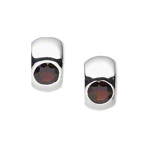 earring, garnet (natural) and sterling silver, 15x9mm round hoop with 6mm faceted round and hinged closure. sold per pair.