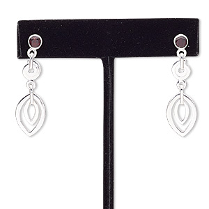 earring, garnet (natural) and sterling silver, 37mm with post. sold per pair.