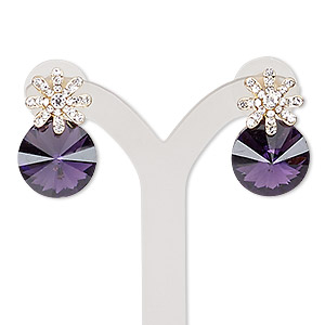 earring, glass / glass rhinestone / stainless steel / gold-finished pewter (zinc-based alloy), purple and clear, 22mm with round and post. sold per pair.