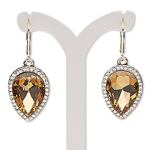 earring, glass rhinestone / glass / gold-finished brass / pewter (zinc-based alloy), clear and topaz brown, 42mm with teardrop and leverback earwire. sold per pair.