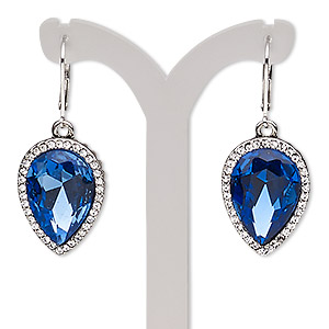 earring, glass rhinestone / glass / imitation rhodium-plated brass / pewter (zinc-based alloy), sapphire blue and clear, 42mm with teardrop and leverback earwire. sold per pair.