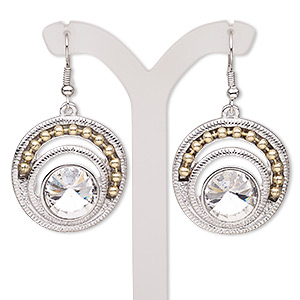 earring, glass rhinestone with antique silver-plated brass and pewter (zinc-based alloy), clear, 48mm with round and fishhook earwire. sold per pair.