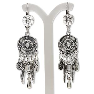 earring, glass rhinestone with antiqued silver-finished steel and pewter (zinc-based alloy), clear, 3 inches with 19mm flat round and feather dangles and leverback earwire. sold per pair.