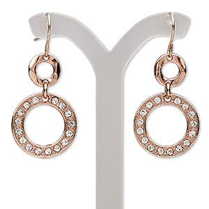 earring, glass rhinestone with copper-finished brass and pewter (zinc-based alloy), clear, 44mm with double circle and fishhook earwire. sold per pair.