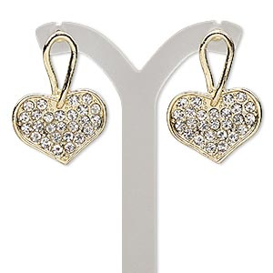 earring, glass rhinestone with gold-finished steel and pewter (zinc-based alloy), clear, 31mm with heart and post. sold per pair.
