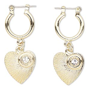 earring, glass rhinestone with gold-finished steel and pewter (zinc-based alloy), clear, 44mm with heart and round hoop with latch-back closure. sold per pair.