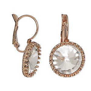 earring, glass with rose gold-finished brass and pewter (zinc-based alloy), clear, 30mm with round and leverback earwire. sold per pair.