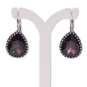 earring, glass with silver-plated brass and pewter (zinc-based alloy), amethyst purple, 34mm with teardrop and leverback earwire. sold per pair.