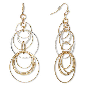 earring, gold-finished steel / gold- / silver-plated brass, 3 inches with circles and fishhook earwire. sold per pair.